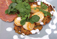 Cooking the Catch: Seared Scallops with Carrot Fritters and Yoghurt Dressing
