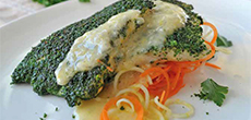 Herb Crusted Trout with Lemon Beurre Blanc and Vegetable Spaghetti
